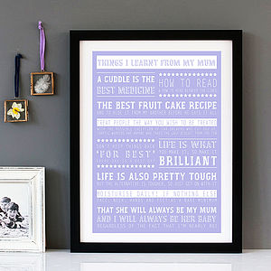 Personalised 'Things I Learnt From My Mum' Print - pictures & prints for children
