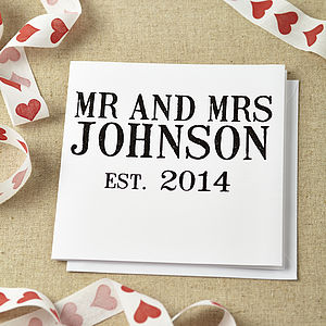 Personalised Mr And Mrs Wedding Card - anniversary cards