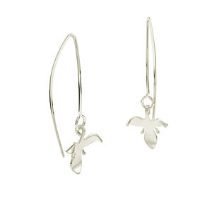 Silver Orchid Flower Loop Earrings