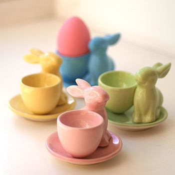 Set Of Three Retro Easter Bunny Eggcups