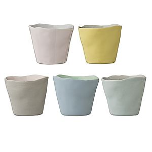 Ceramic Pastel Votives   Set Of Five