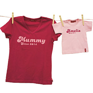 'Mummy Since' And Matching Baby T Shirt - tops & t-shirts