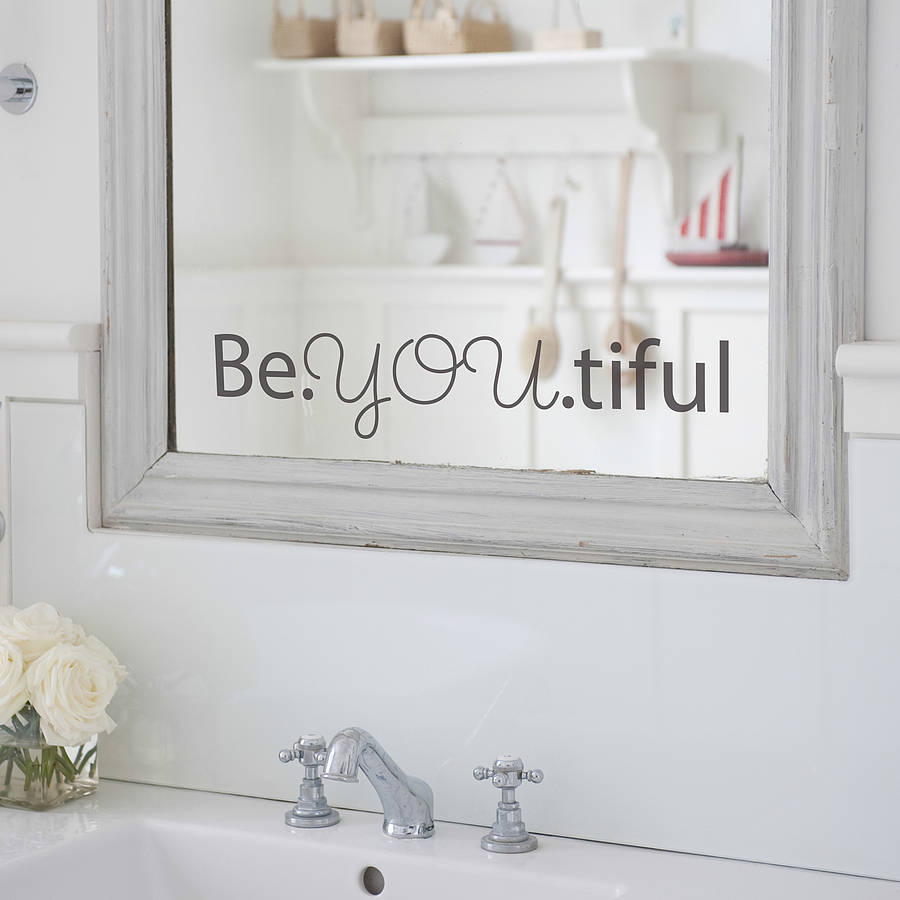 39 beyoutiful 39 mirror sticker by nutmeg for Miroir stickers