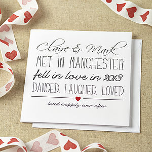 Personalised Danced Laughed Loved Card - personalised cards