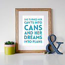 Turquoise font with oak frame