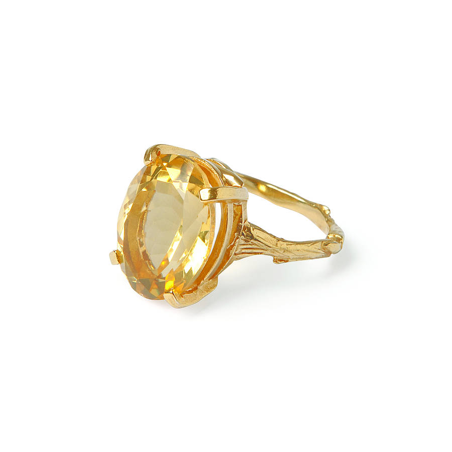 citrine and 18k gold plated silver cocktail ring by chupi