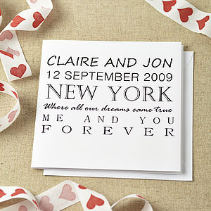 Personalised Dreams Came True Wedding Card - anniversary cards