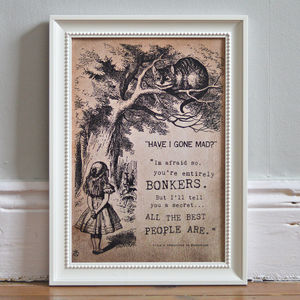 Alice In Wonderland 'Bonkers' Print - art & pictures
