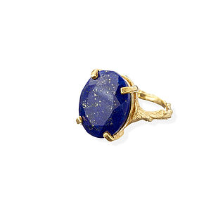 Lapis Lazuli And 18k Gold Plated Silver Cocktail Ring - rings