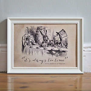 Alice In Wonderland 'Tea Time' Poster Print - children's room