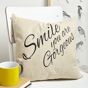 100% Linen 'Smile' Cushion - home