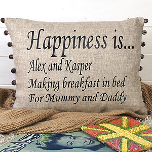 Personalised 'Happiness' Cushion - home sale