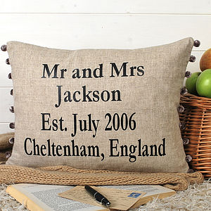 Personalised Wedding Anniversary Cushion - 4th anniversary: linen