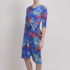 Underworld Ocean Print Side Drape Dress