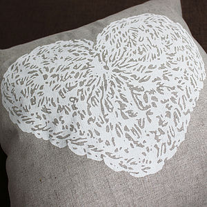 Crochet Heart Linen Cushion Cover - cushions