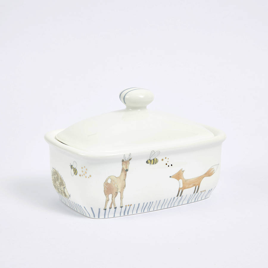 In The Woodland Butter Dish By Julia Davey
