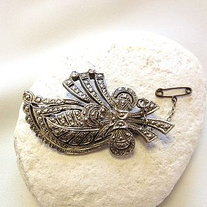 Vintage Safety Chain Marcasite Brooch - women's jewellery