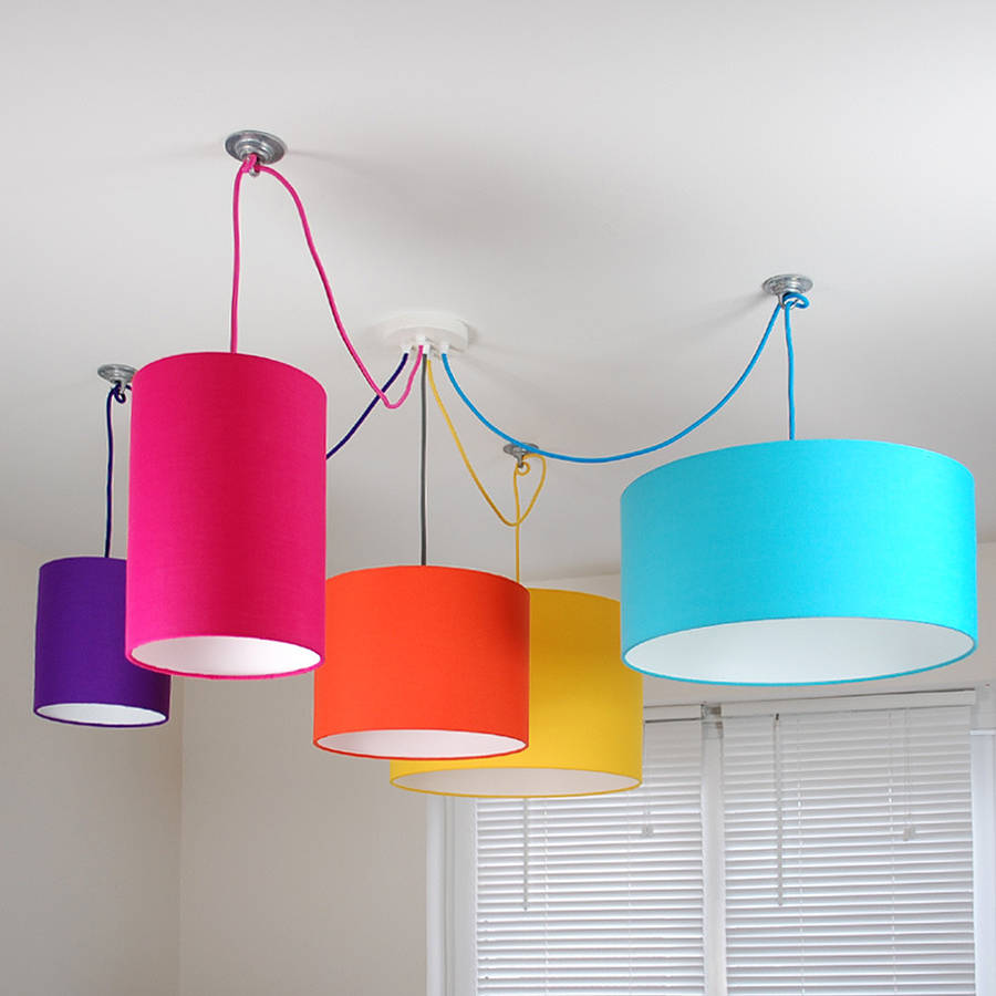 Colorful lamp shades - Three Way Ceiling Rose Kit With Plain Bright Lampshades By Quirk