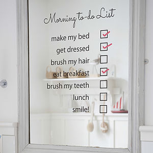 'Morning To Do List' Mirror Sticker - wall stickers