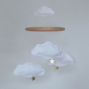 Personalised Multi Cloud And Star Baby Mobile - baby's room