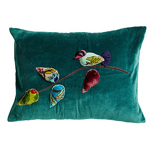Bird Applique Cushion In Petrol Blue - embroidered cushions