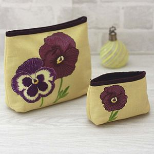 Embroidered Pansy Wash Bag And Make Up Bag - bags & purses