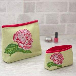 Embroidered Hydrangea Wash And Make Up Bag - bags & purses