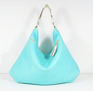 Leather Hobo Bag With Metallic Strap - cross-body bags