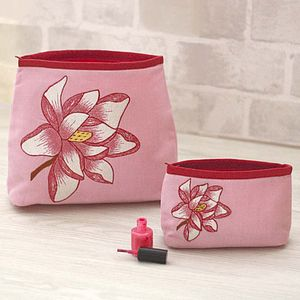 Embroidered Magnolia Wash Bag And Make Up Bag - women's sale