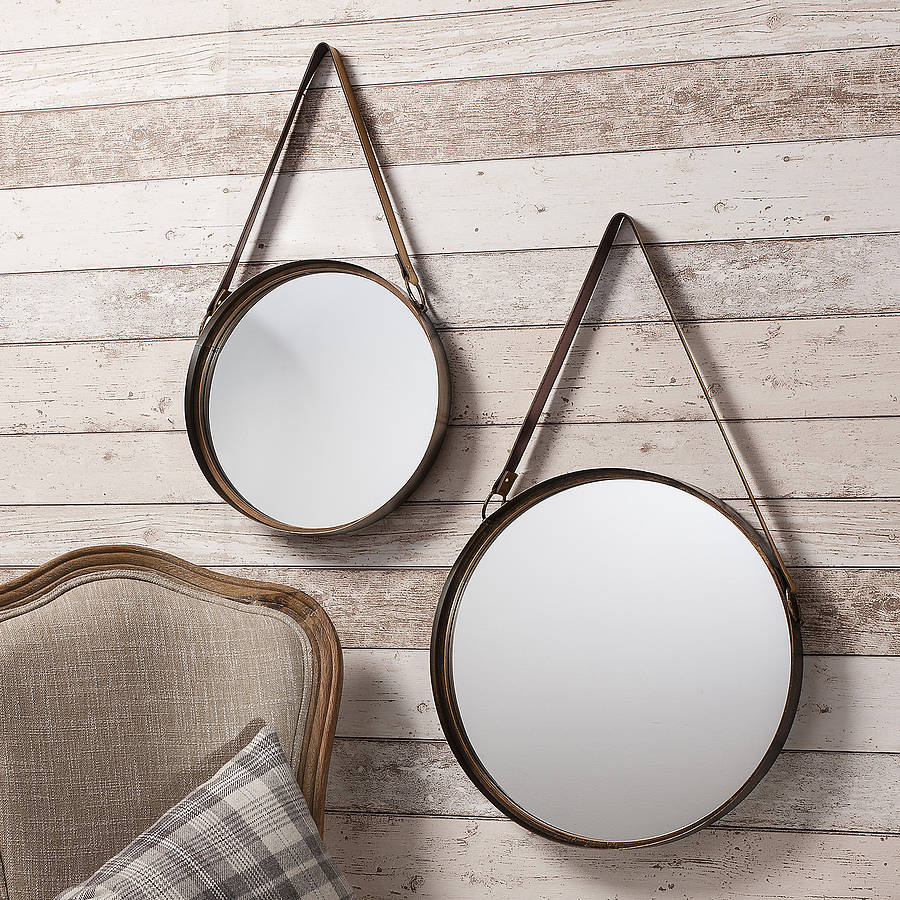 Industrial round hanging mirror set with leather strap by Hanging bathroom mirrors with frame