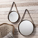 Industrial Round Hanging Mirror Set With Leather Strap
