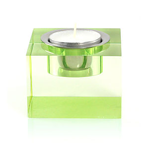 Tea Light Candle Holder, Green - table decorations