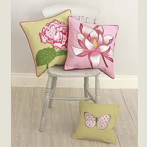 Magnolia, Hydrangea And Butterfly Cushions - cushions