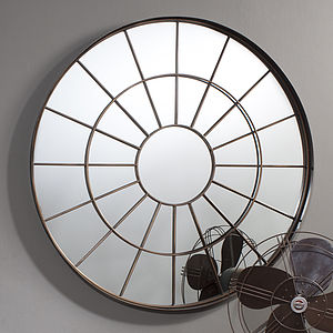 Round Industrial Window Mirror