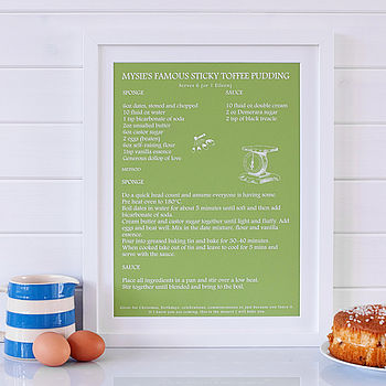 Personalised 'Signature Dish' Recipe Print - Green