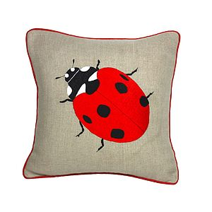 Ladybird Embroidered Cushion - home