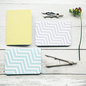 Set Of Three Recycled Geometric Notebooks