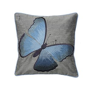 Embroidered Blue Butterfly On Steel Cushion - home