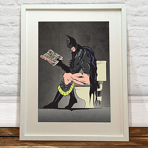 Batman On The Toilet Print - graphic art prints