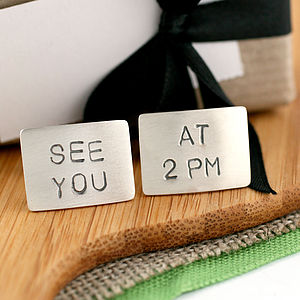 Personalised Silver Cufflinks - wedding jewellery
