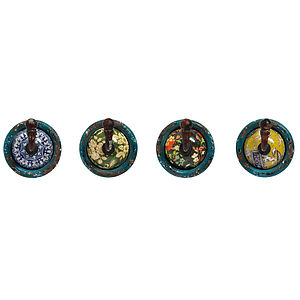 Blue Round Floral Hook Selection - home