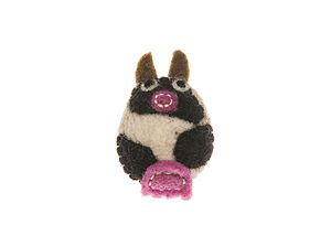 Handmade Felt Cow Brooch - women's jewellery