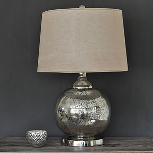 Round Antique Silver Glass Lamp And Shade