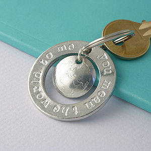 You Mean The World To Me Pewter Charm Keyring