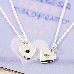 Birthstone Starburst Heart Charm Necklace - necklaces & pendants