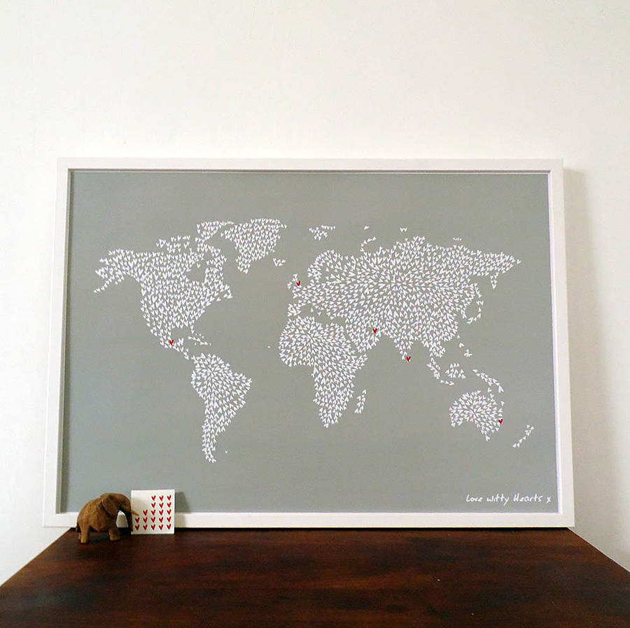 large map of the world with heart stickers by witty hearts ...