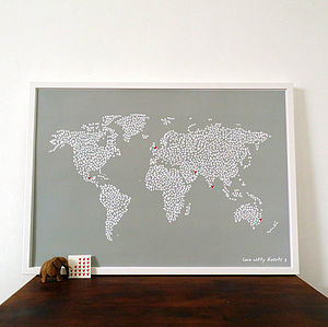 Large Map Of The World With Heart Stickers