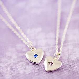 Birthstone Starburst Heart Charm Necklace - winter sale
