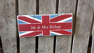 Personalised Union Jack Mr And Mrs Door Sign - room decorations