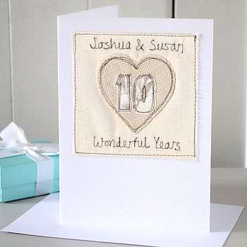 Personalised Embroidered Anniversary Card